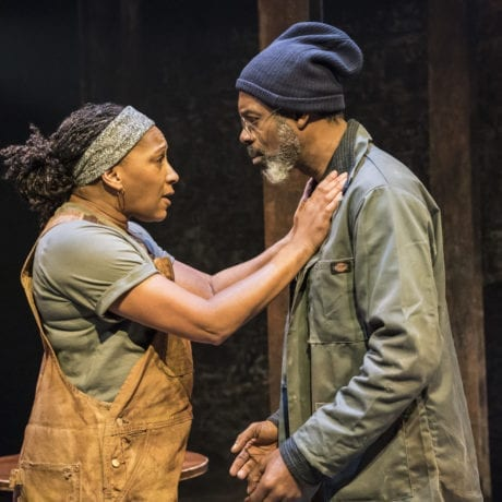 Patrick Gibson (Jason) and Osy Ikhile (Chris) in Sweat at the Donmar Warehouse directed by Lynette Linton, designed by Frankie Bradshaw. Photo Johan Persson