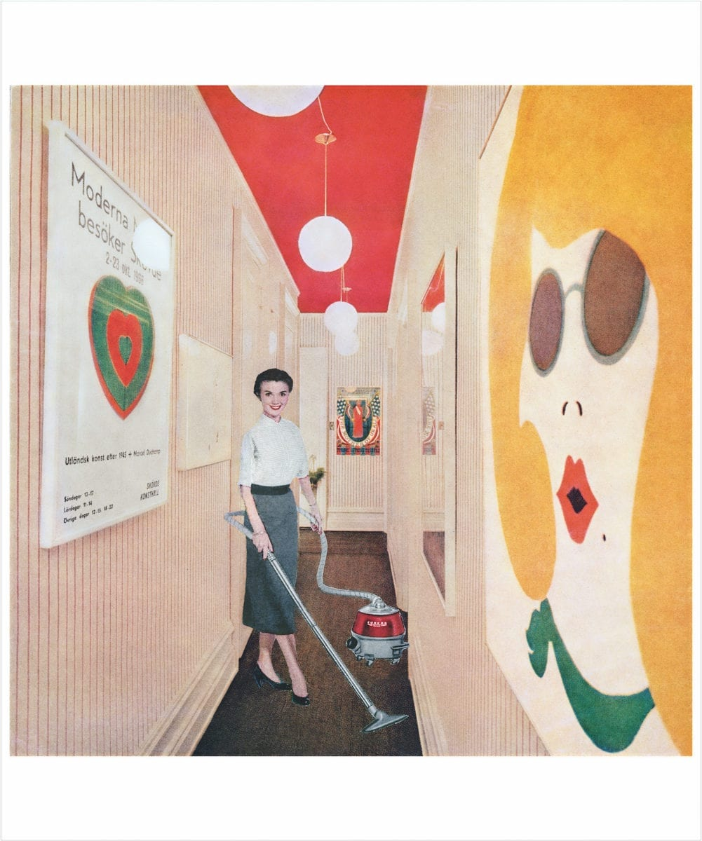 Martha Rosler, Woman with Vacuum, or Vacuuming Pop Art, from the series: Body Beautiful, or Beauty Knows No Pain, 1966-72. Courtesy of the artist.