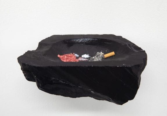 Chasing, Pausing, Waiting, 2014. Blusher, bird droppings, cigarette ash (from a smoker wanting to quit), black marble