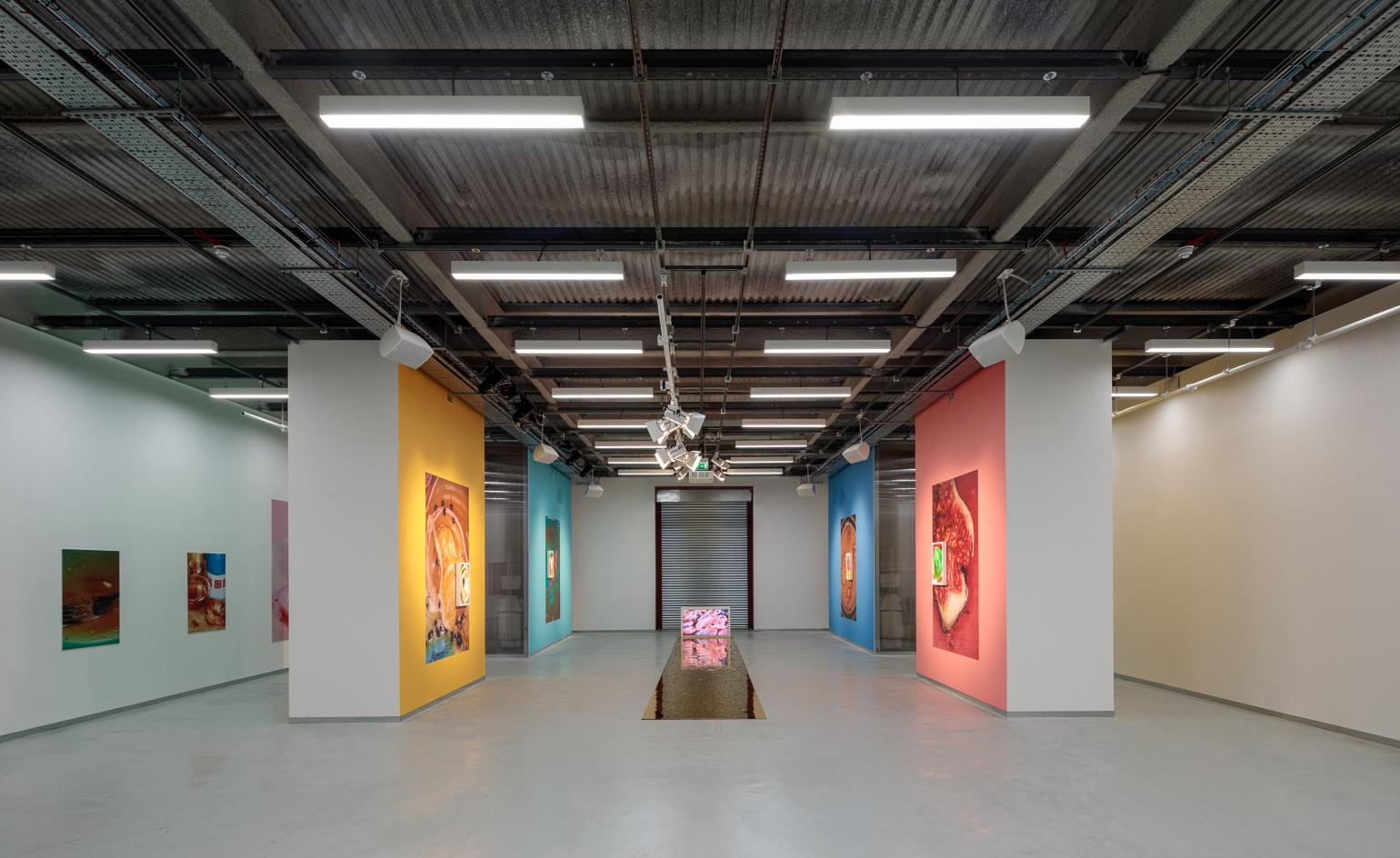 The interior of Elephant West with photographic works by Maisie Cousins. Photography: Dirk Lindner