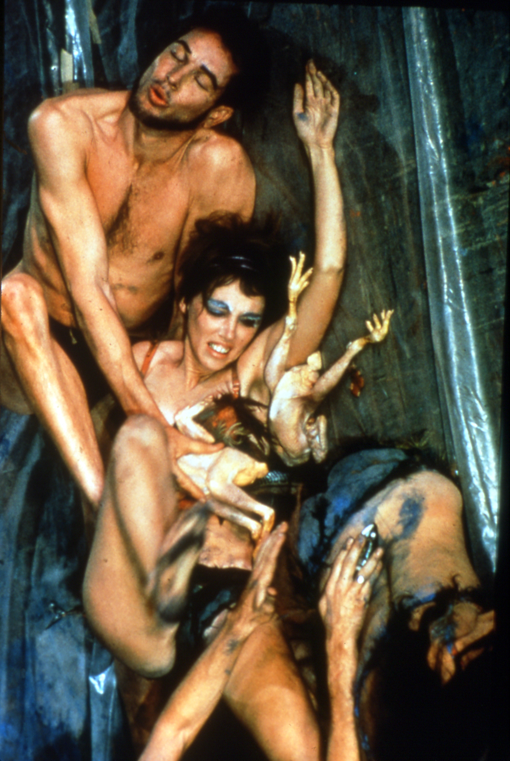 Meat Joy, 1964, performance - raw fish, chickens, sausages, wet paint, plastic, rope, paper scrap, Judson Church NYC photograph by Al Giese
