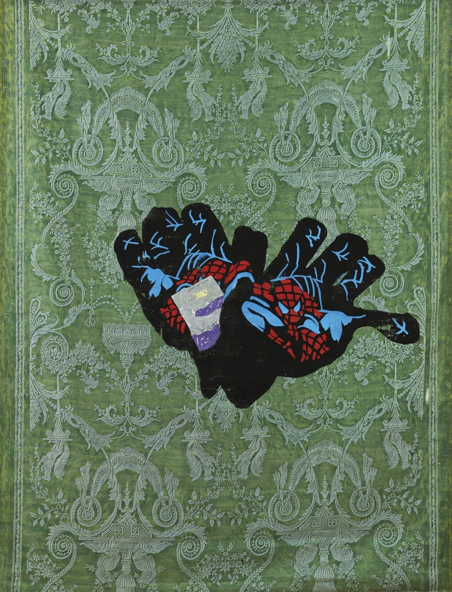 Dark Woollen Gloves with Red and Blue Spiderman print, 2017