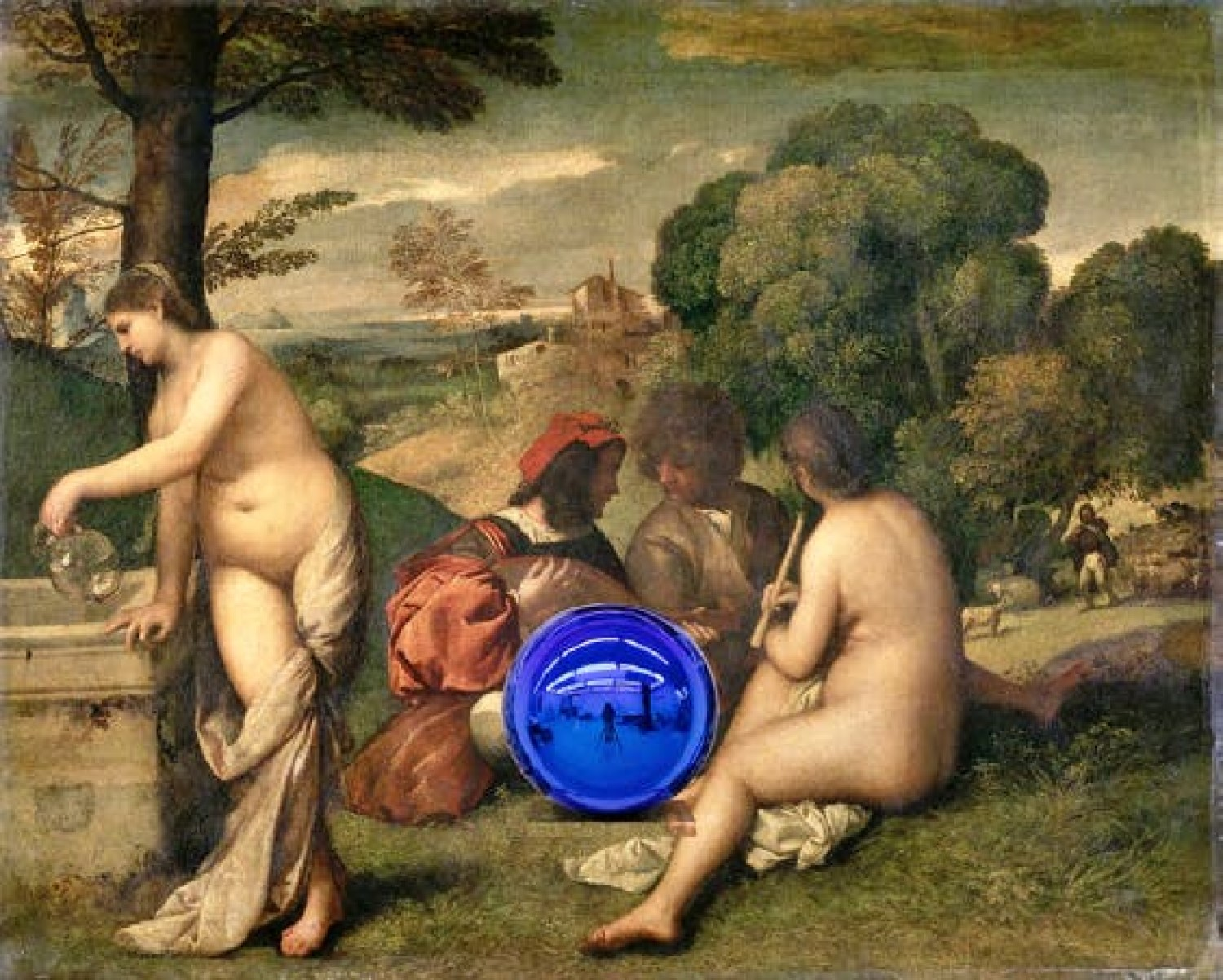 Gazing Ball (Titian Pastoral Concert) (detail; 2016), Jeff Koons. © Jeff Koons – Courtesy of the artist and Almine Rech Gallery