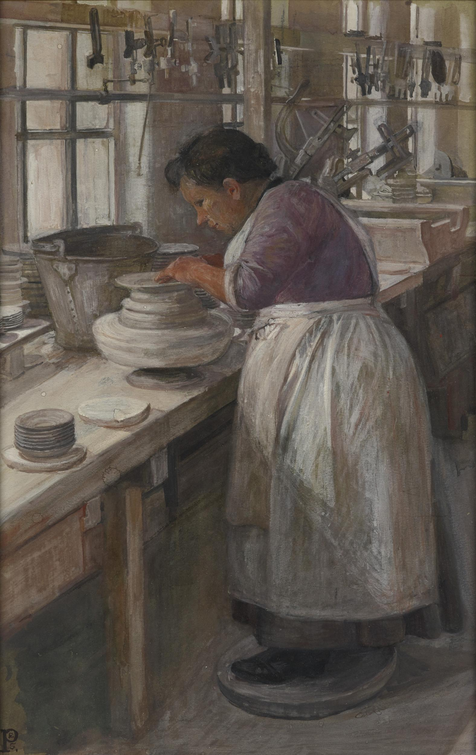 Sylvia Pankhurst, On a Pot Bank: Finishing Off the Edges of the Unbaked Plates on a Whirler 1907