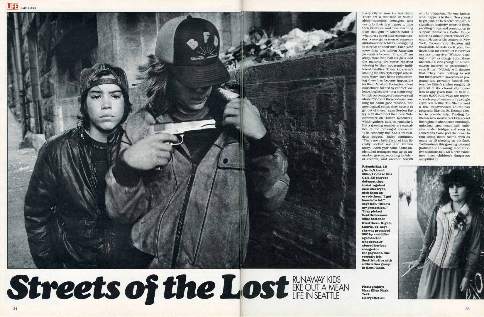 """Streets of the Lost: Runaway Kids eke out a mean life in Seattle""—LIFE magazine, July 1983. © Mary Ellen Mark—LIFE Magazine"