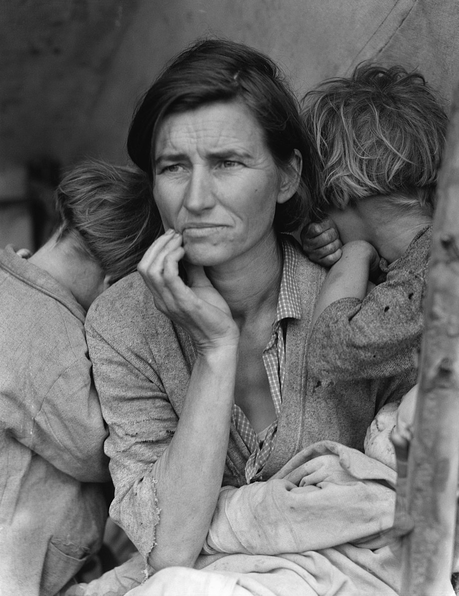 Dorothea Lange. Migrant Mother, Nipomo, California, 1936. Gelatin silver print. The Dorothea Lange Collection, the Oakland Museum of California, City of Oakland, Gift of Paul S. Taylor