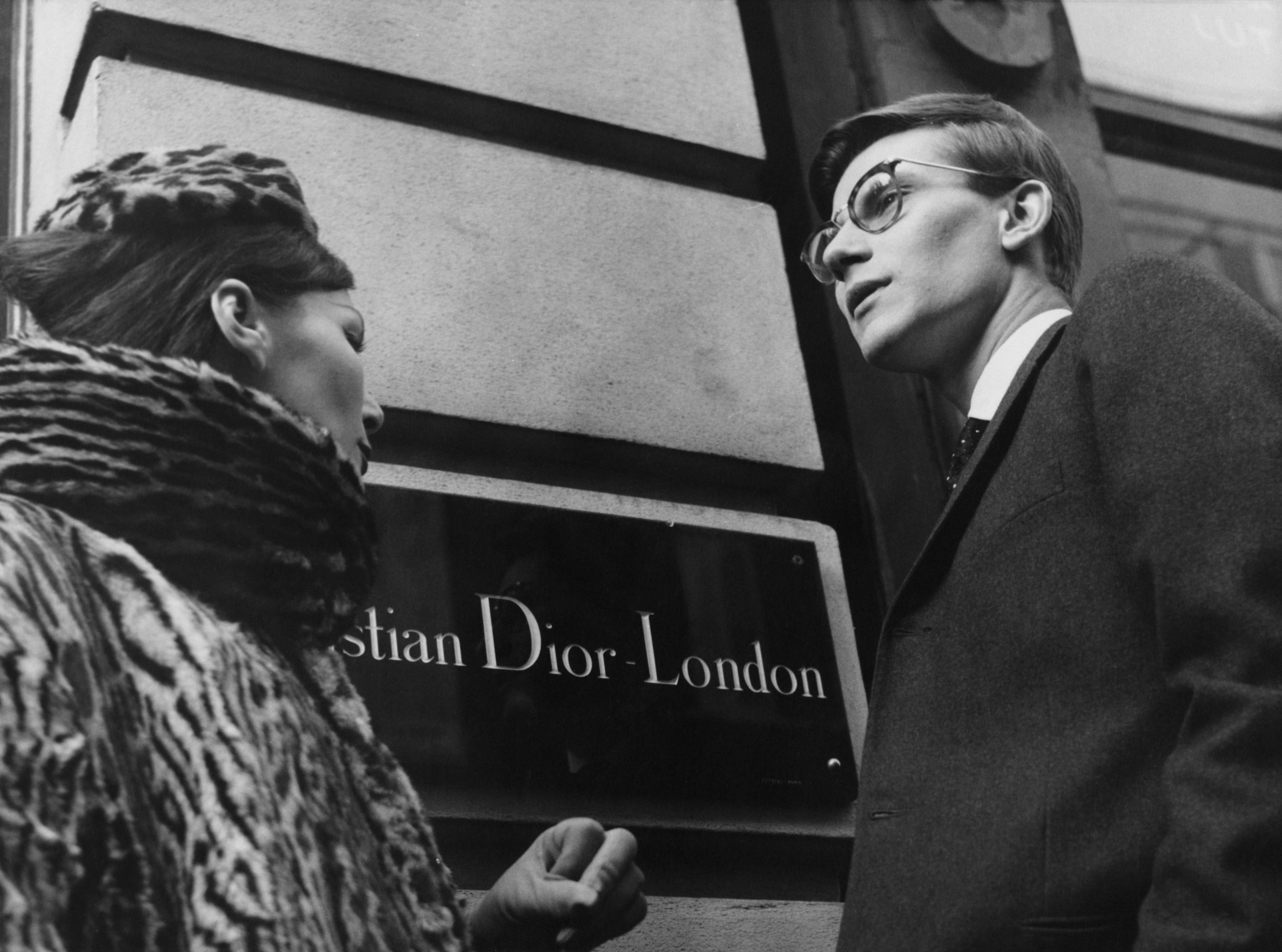 French fashion designer Yves Saint Laurent (1936 - 2008) in London, 11th November 1958. He is preparing for the following day's Dior Autumn collection show to an audience including Princess Margaret, at Blenheim Palace. Photo by Popperfoto/Getty Images
