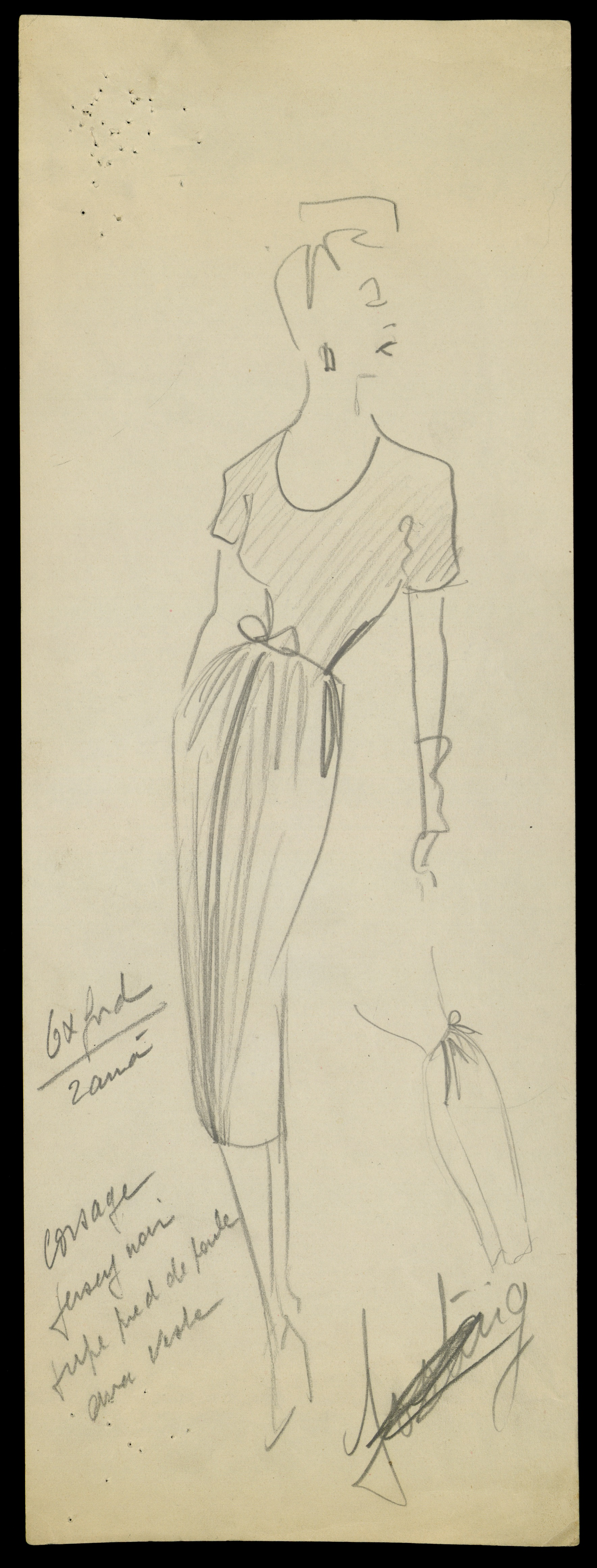 Sketch by Christian Dior for model Oxford, Haute Couture, Spring/Summer 1947 © Christian Dior
