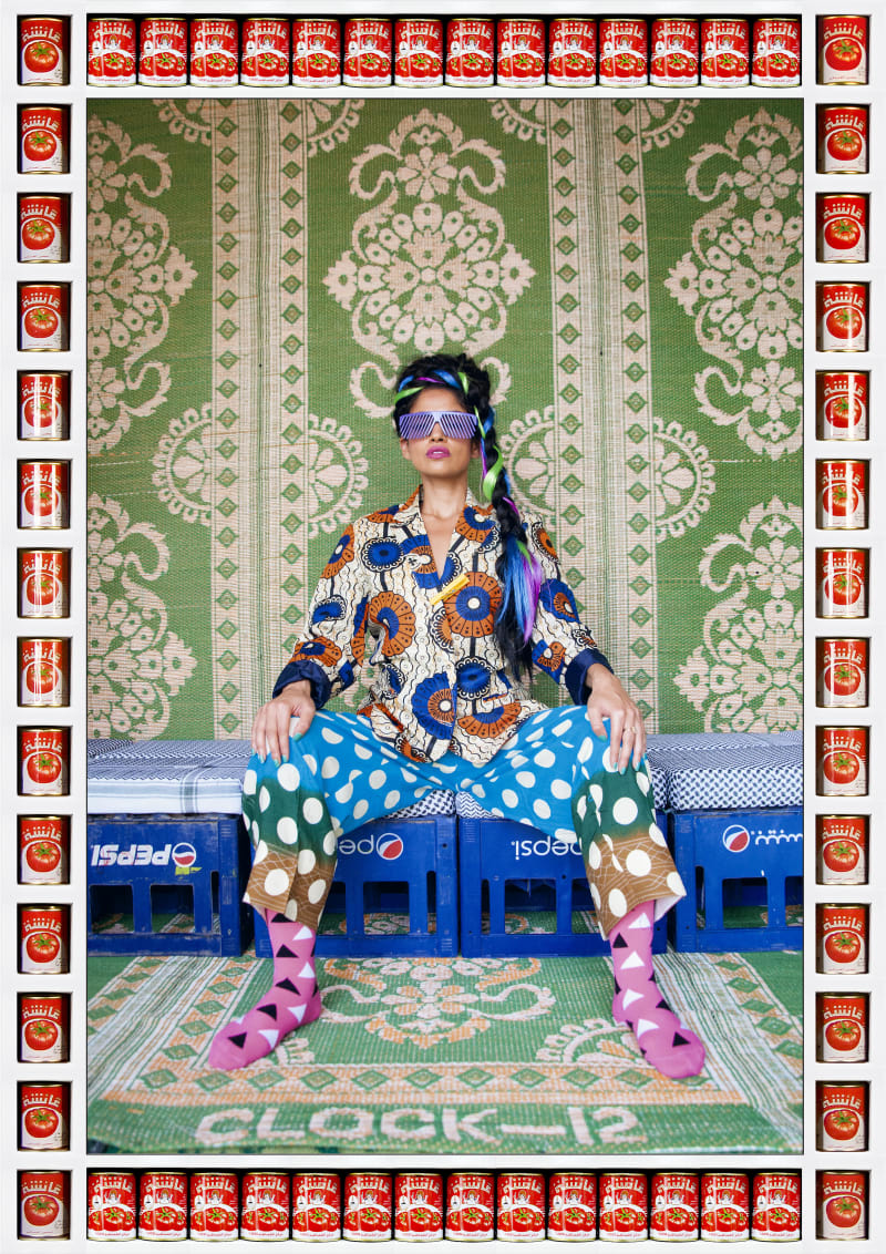 "Hassan Hajjaj, Alo Wala, 2015/1436. Metallic lambda on 3mm dibond Frame: wood sprayed white with ""Aicha"" tomato cans 133 x 94 x 6.3cm. Courtesy of the artist and Taymour Grahne, London"