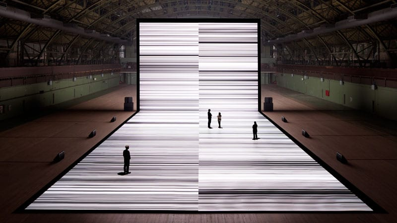 Ryoji Ikeda, Test Pattern, the Transfinite, photo by James Ewing courtesy of Forma