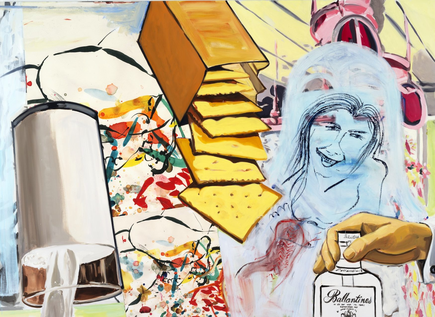 David Salle, Ballantines, 2014 oil, acrylic and pigment print on linen. Courtesy of the artist and Skarstedt, New York