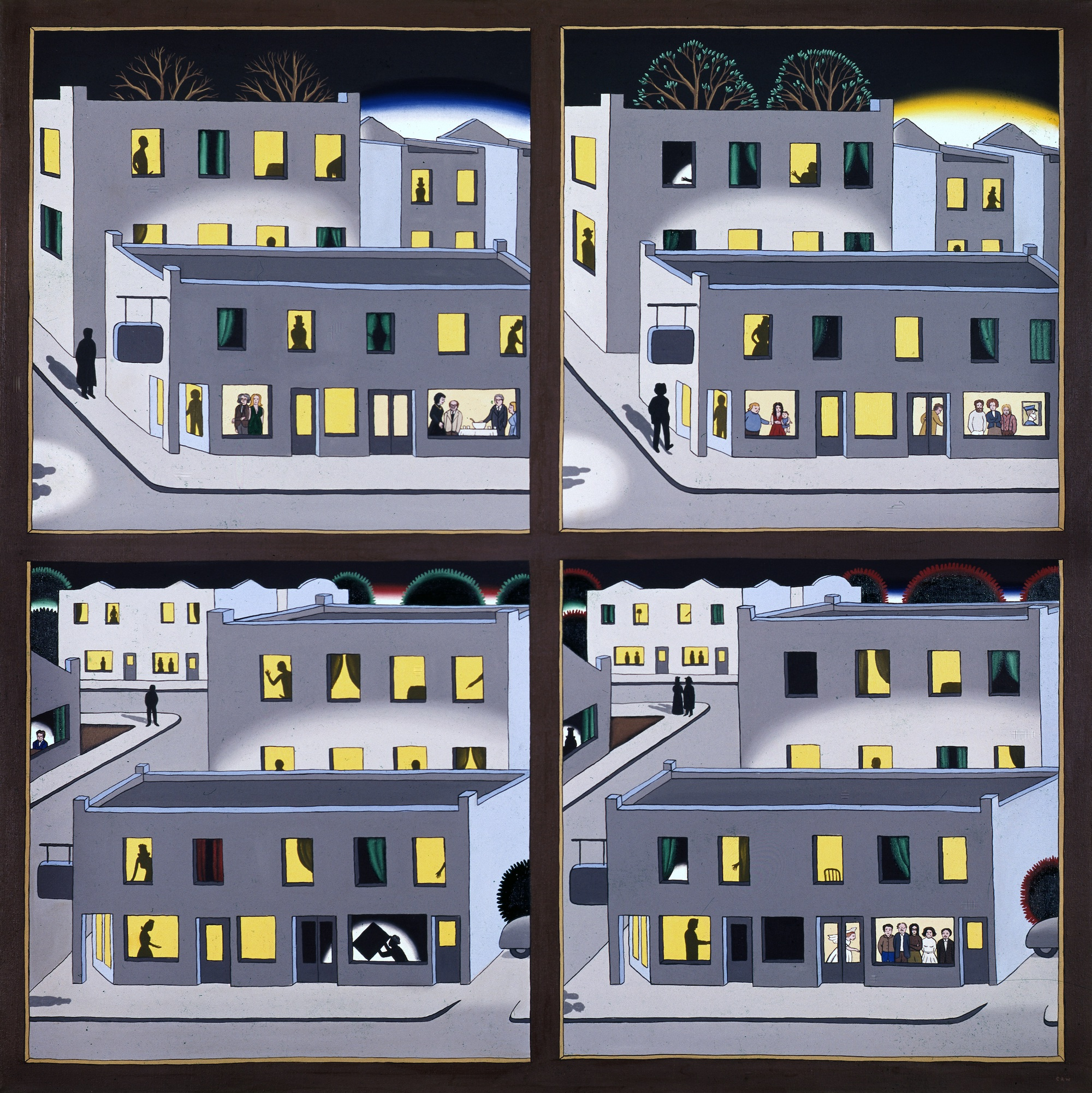 Roger Brown, The Four Seasons - A Benefit Painting of the Hyde Park Art Center, 1974 © The School of the Art Institute of Chicago and the Brown Family. Private collection, Courtesy McCormick Gallery, Chicago
