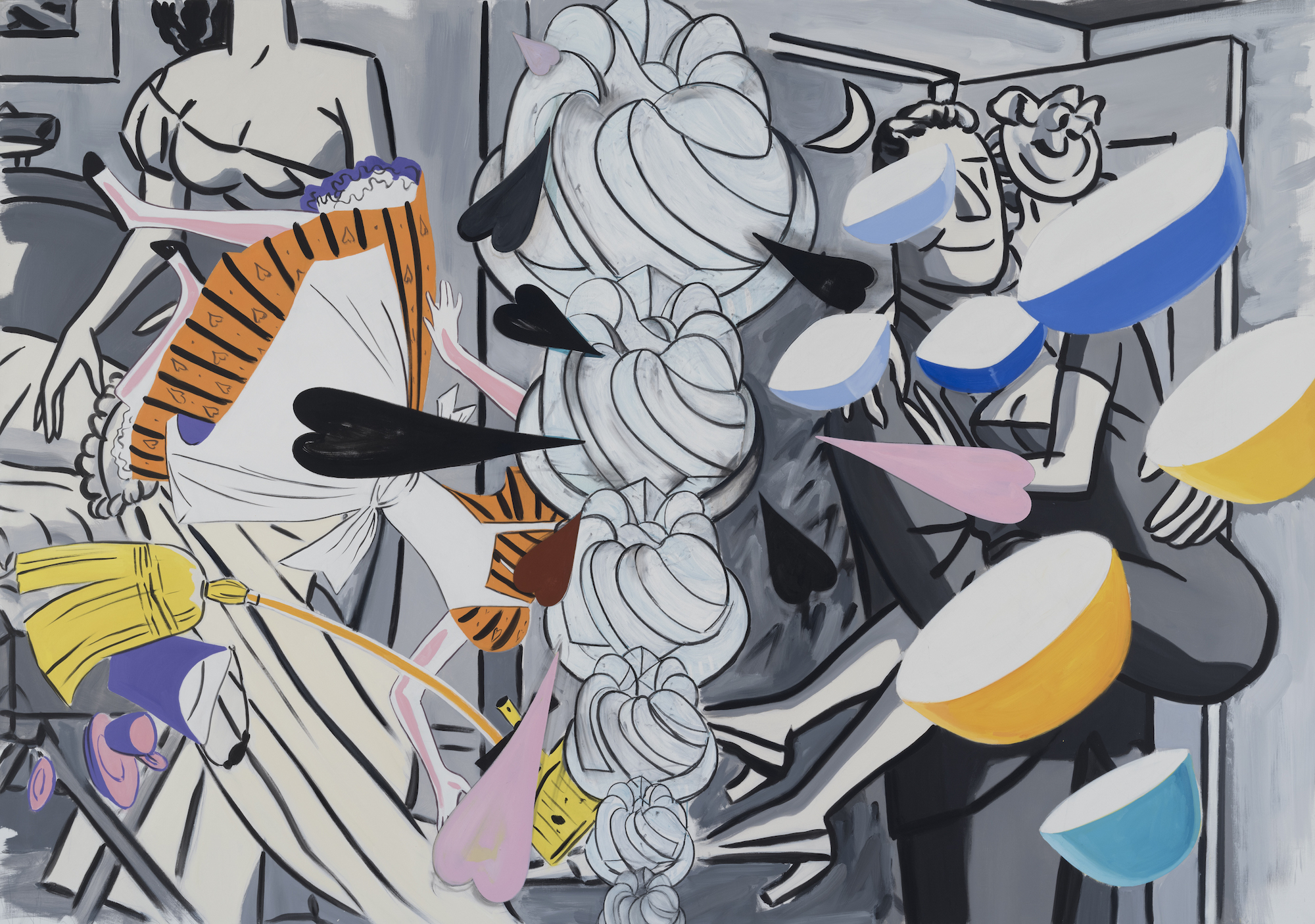 David Salle, Grey Honeymoon, 2018-19, oil and acrylic on linen. Courtesy of Skarstedt, New York