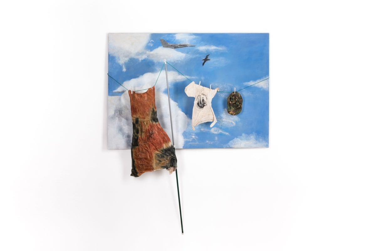 Sue Atkinson, Laundered Air America, Plane Flies Over Home , 1986  © The Artist; Courtesy Richard Saltoun Gallery, London