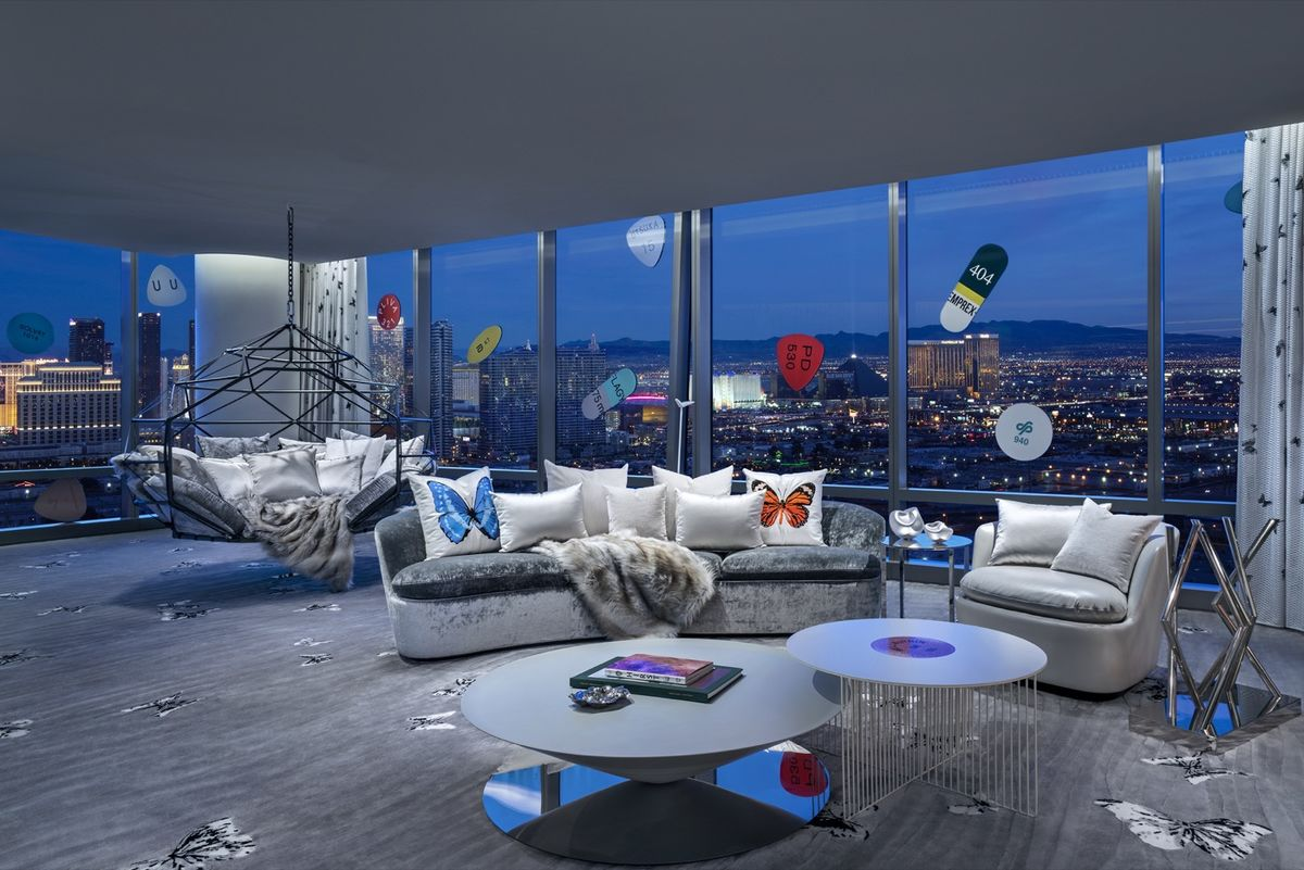 Living room of the Empathy Suite at Palms Casino Resort, Las Vegas. Designed by Bentel & Bentel and Damien Hirst featuring work by the artist. Image courtesy of Palms Casino Resort.