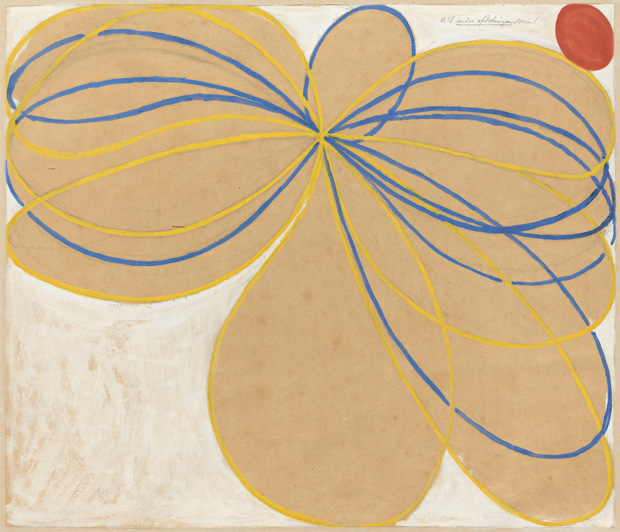 Hilma af Klint Group V, The Seven-Pointed Star, No. 1n (Grupp V, Sjustjärnan, nr 1), 1908 from The WUS/Seven-Pointed Star Series (Serie WUS/Sjustjärnan). Courtesy The Hilma af Klint Foundation, Stockholm