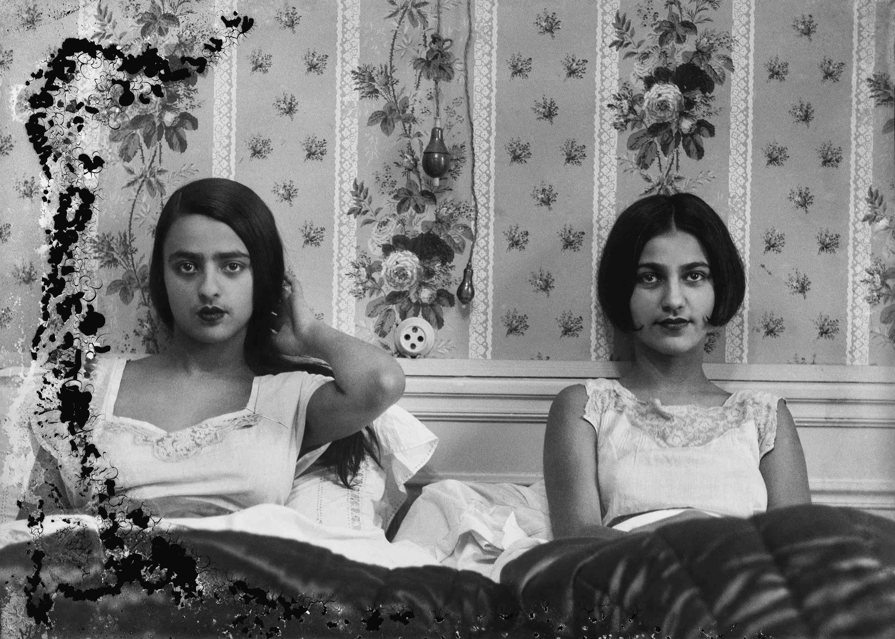 Umrao Singh Sher-Gil Sisters in bed, c1932. Courtesy of PHOTOINK