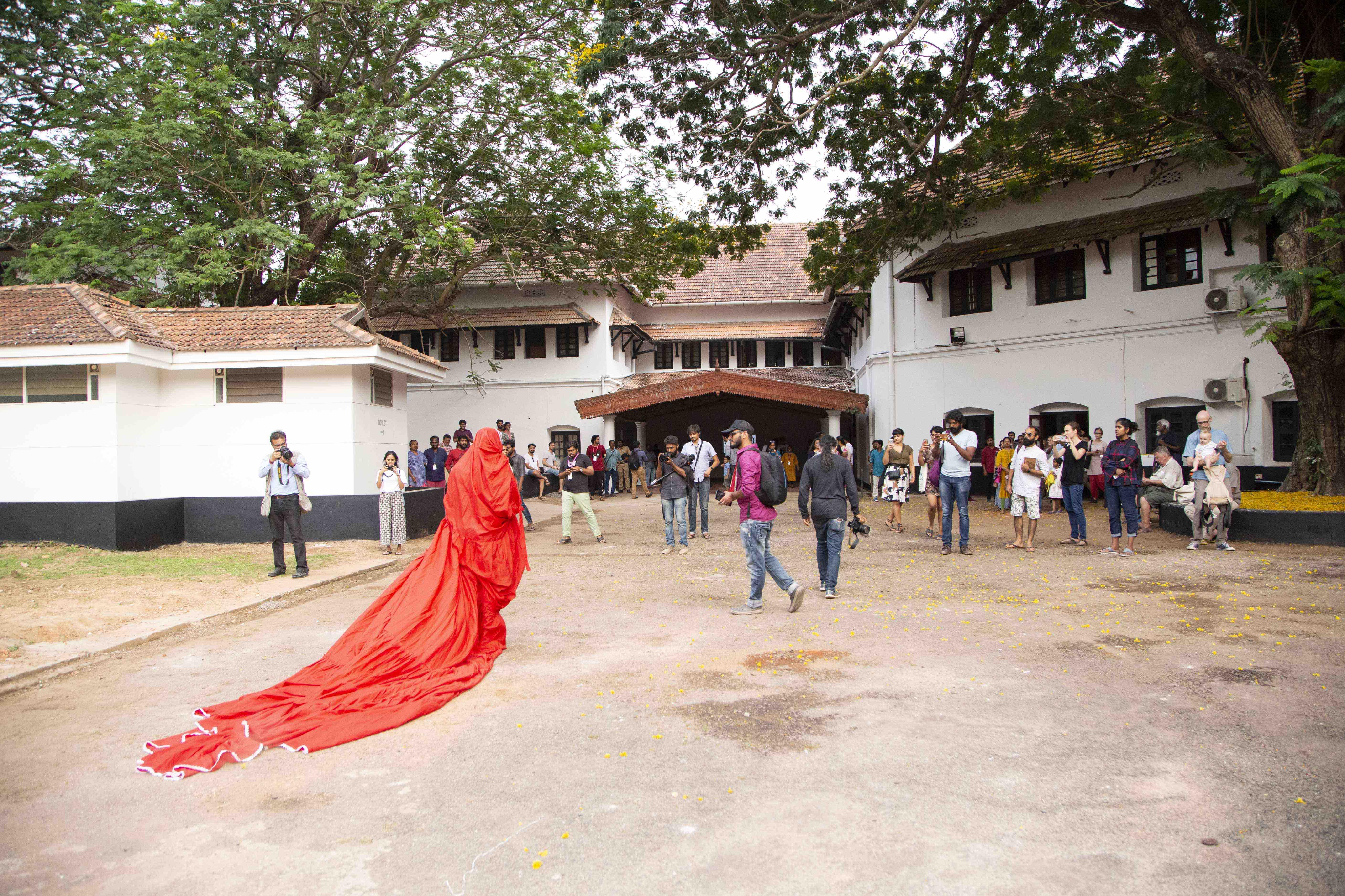 A performance by artists Aryakrishnan (Biennale artist), Gee Imaan Semmalar, and Raju Rage at the Kochi-Muziris Biennale
