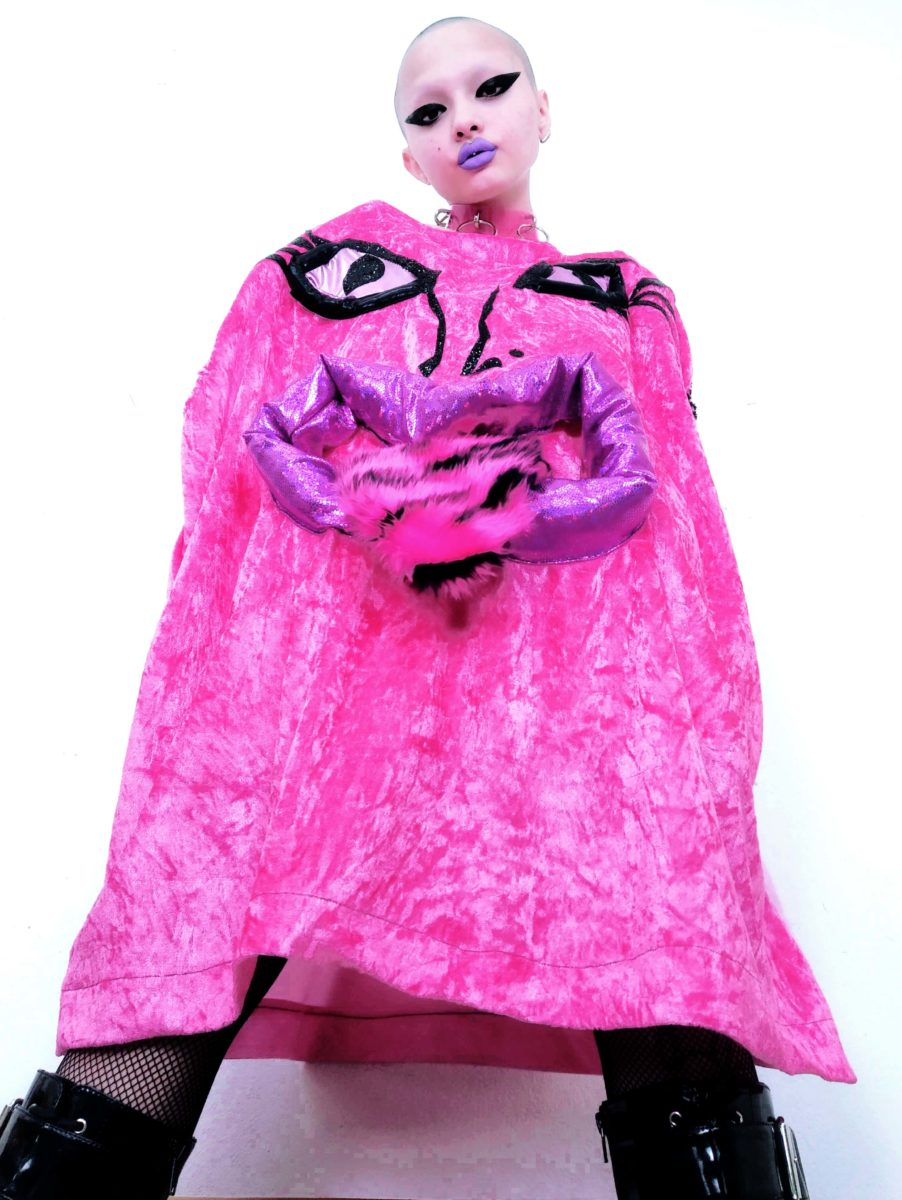Lu La Loop, drag monster velour dress, worn by Celine