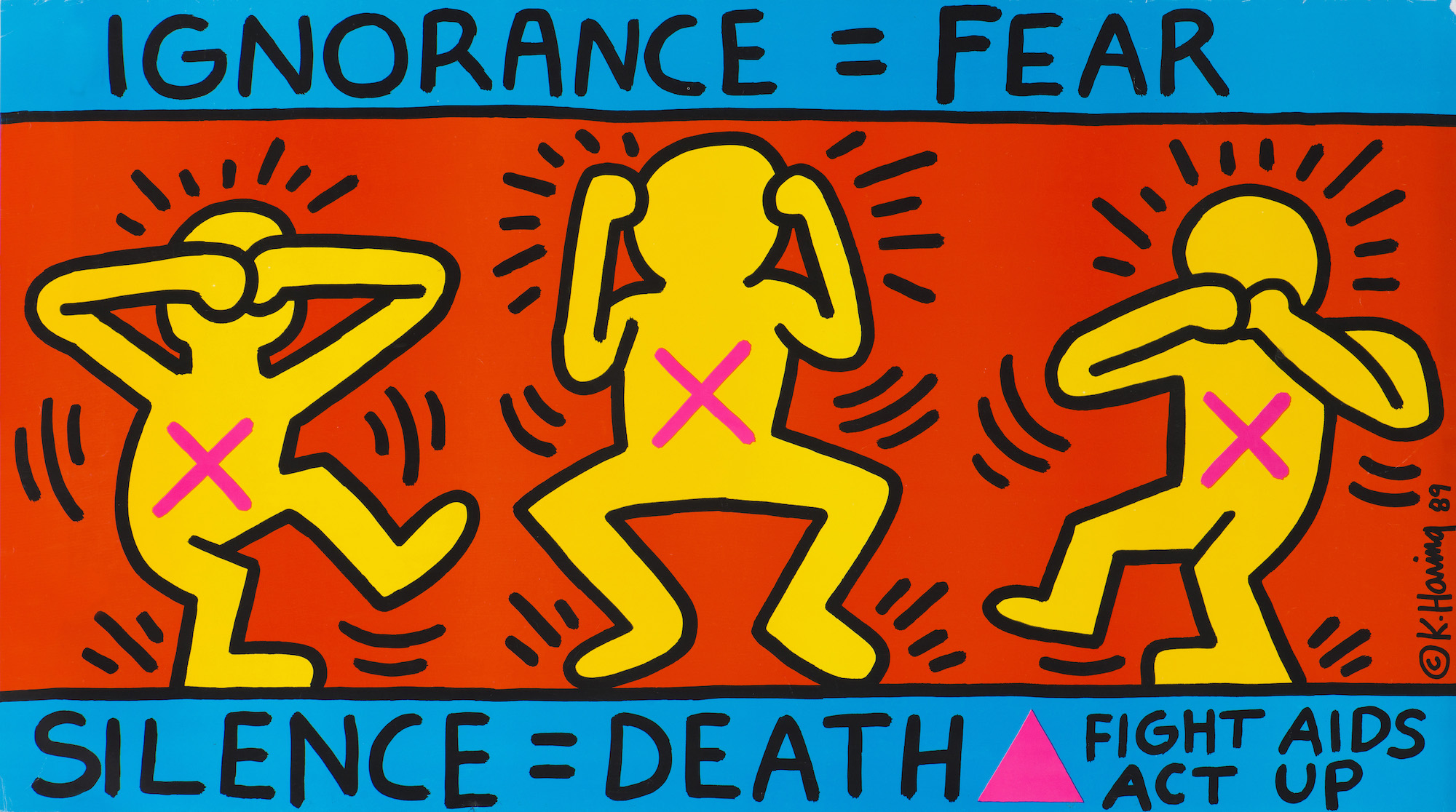 Keith Haring, Ignorance = Fear, 1989. © Keith Haring Foundation/ Collection Noirmontartproduction, Paris