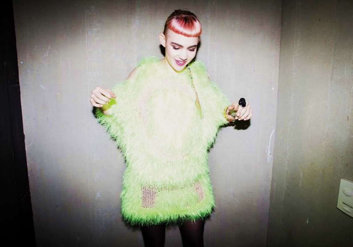 Lu La Loop, fluoro toxic monster jumper, worn by Grimes