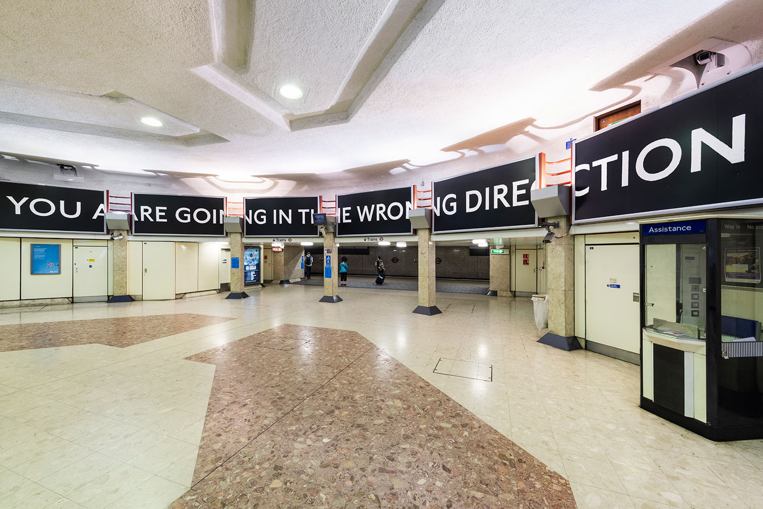 Laure Prouvost, You are deeper than what you think, Heathrow Terminal 4 station, 2019. Commissioned by Art on the Underground. images by Thierry Bal
