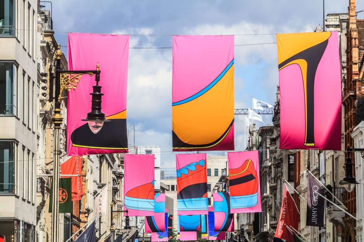 Flag artwork by Sir Michael Craig-Martin in New Bond Street as part of the RA Summer Exhibition, London, UK - 06 Jun 2019. Photo by Amer Ghazzal/Shutterstock