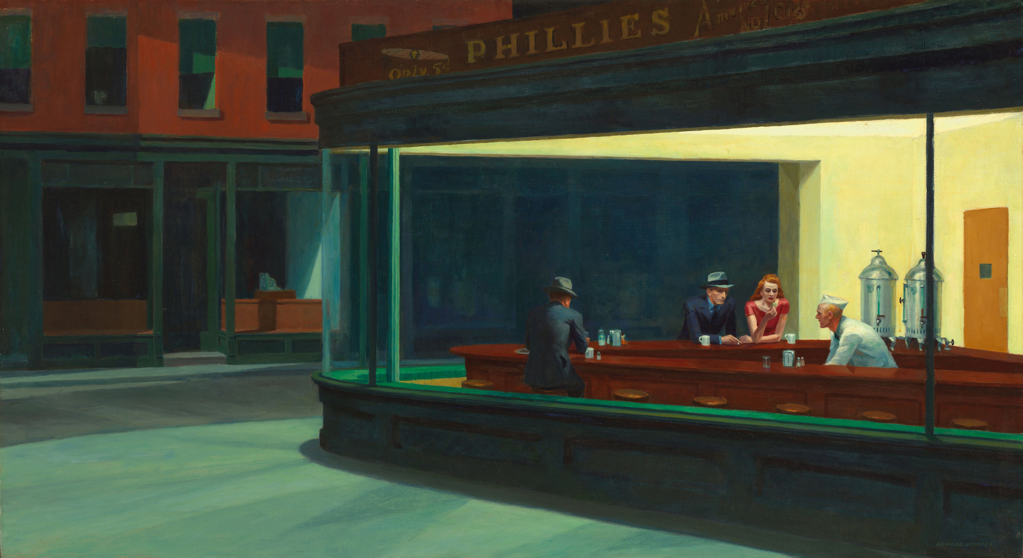 Edward Hopper, Nighthawks, 1942. Photo via Wikimedia Commons