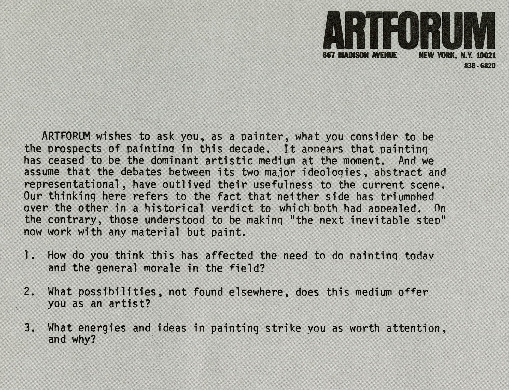 The 1975 Artforum piece