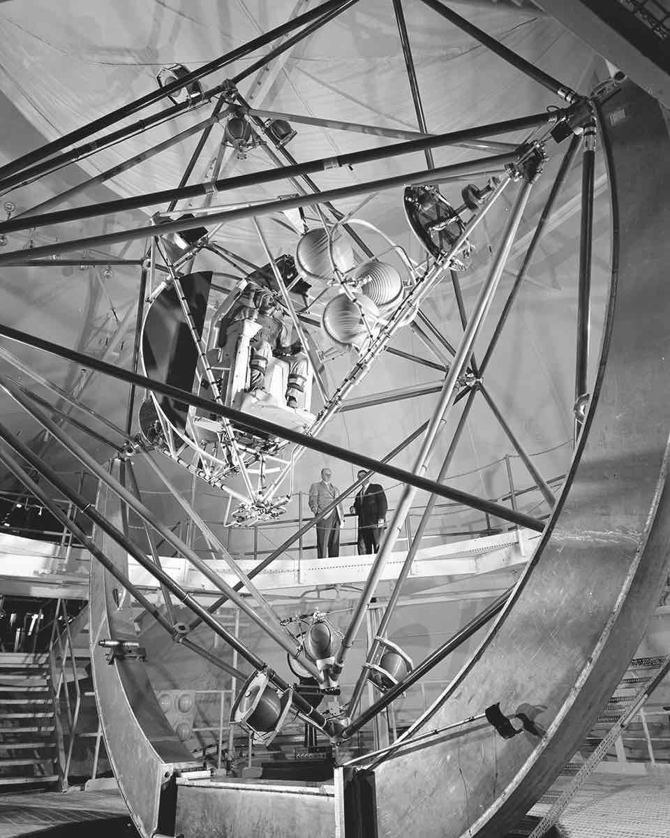 Gimbal rig, Multiple Axis Space Test Inertia Facility (MASTIF), used for training astronauts to control pitch and roll for the early Mercury missions (1958–63), Lewis Research Center, Lewis Field, Cleveland, Ohio, 1957. Picture credit: NASA