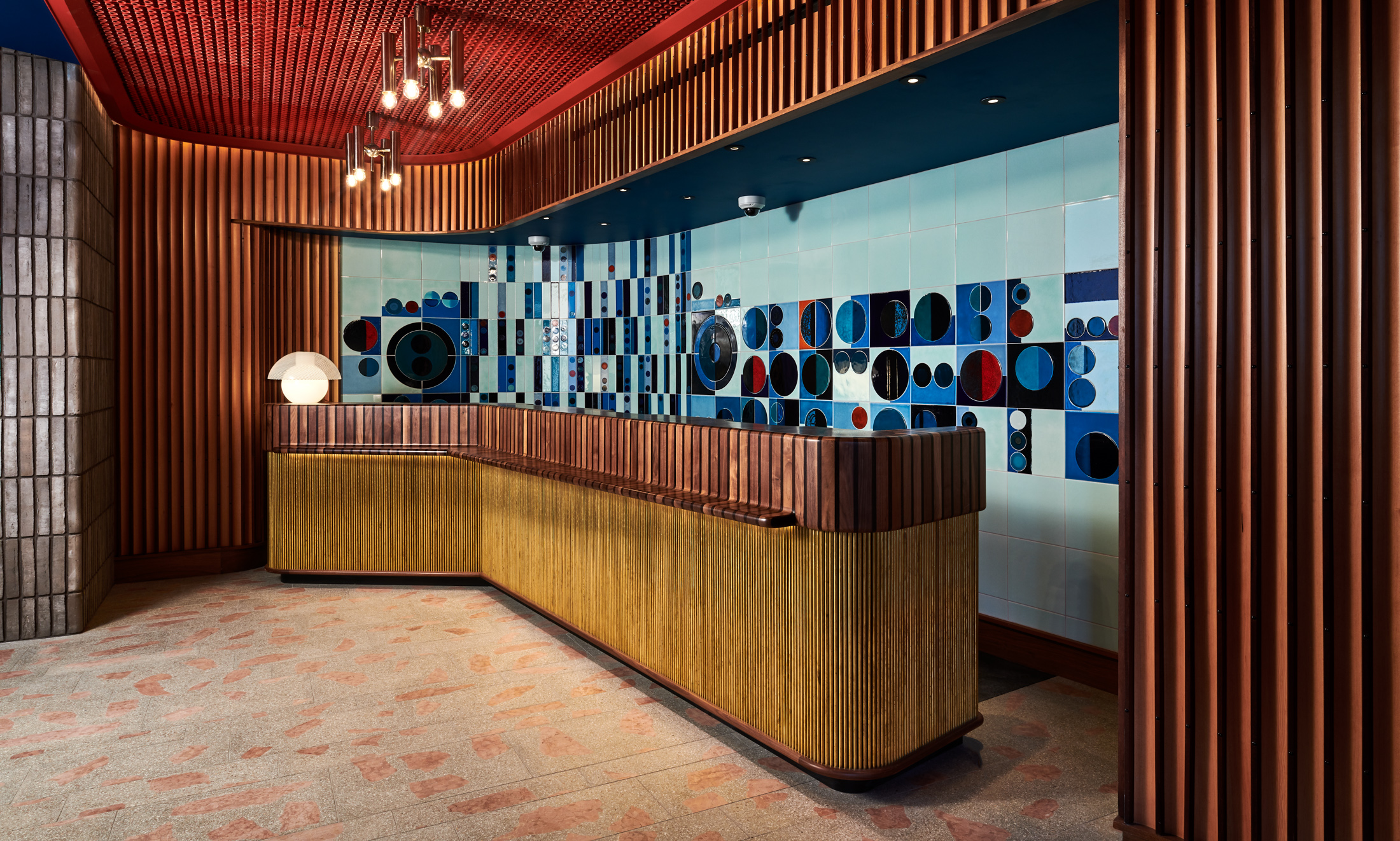 The Standard London, reception, with ceramic artwork by Lubna Chowdhary