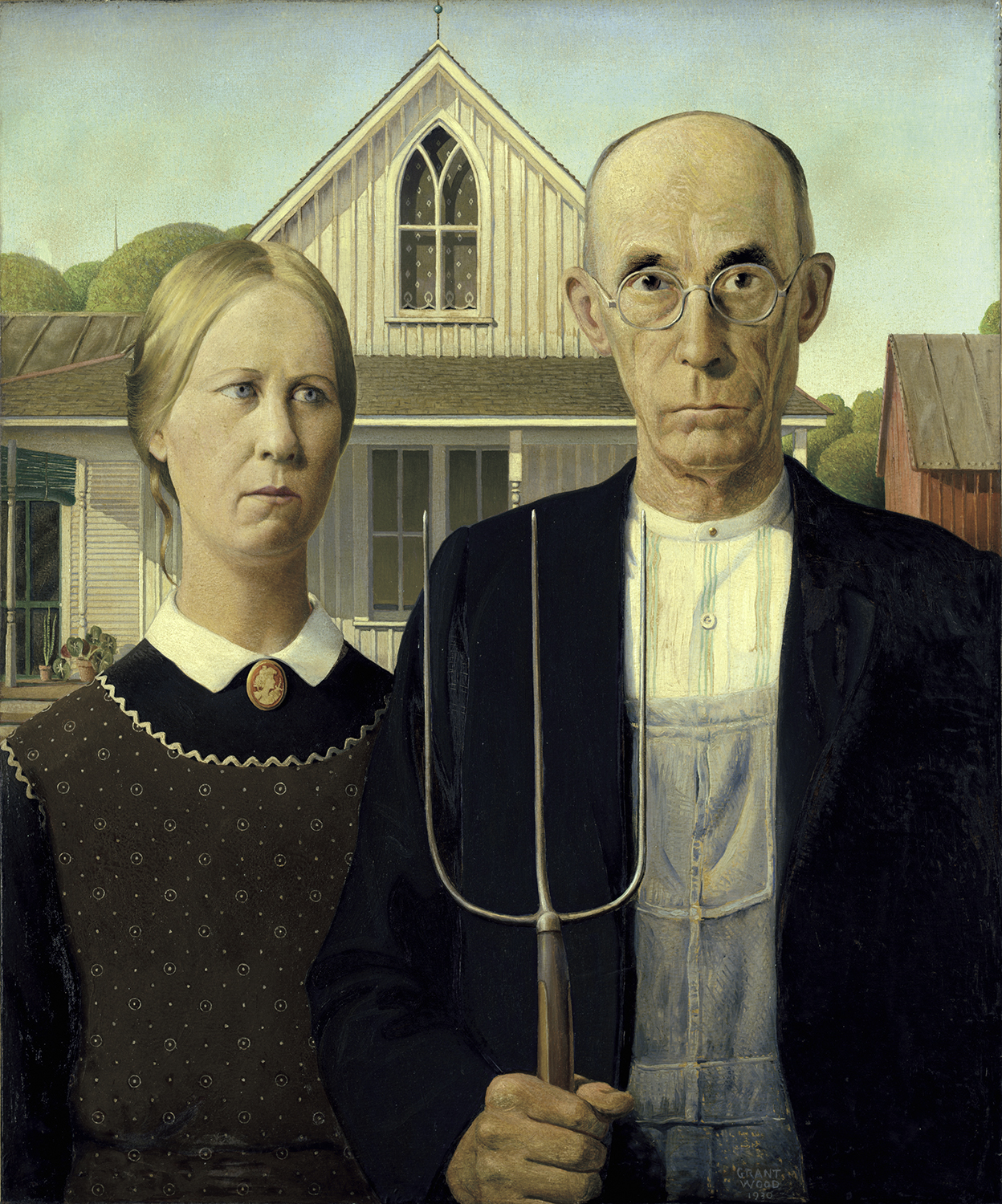 Grant Wood, American, 1891-1942. American Gothic, 1930. The Art Institute of Chicago. Friends of American Art Collection