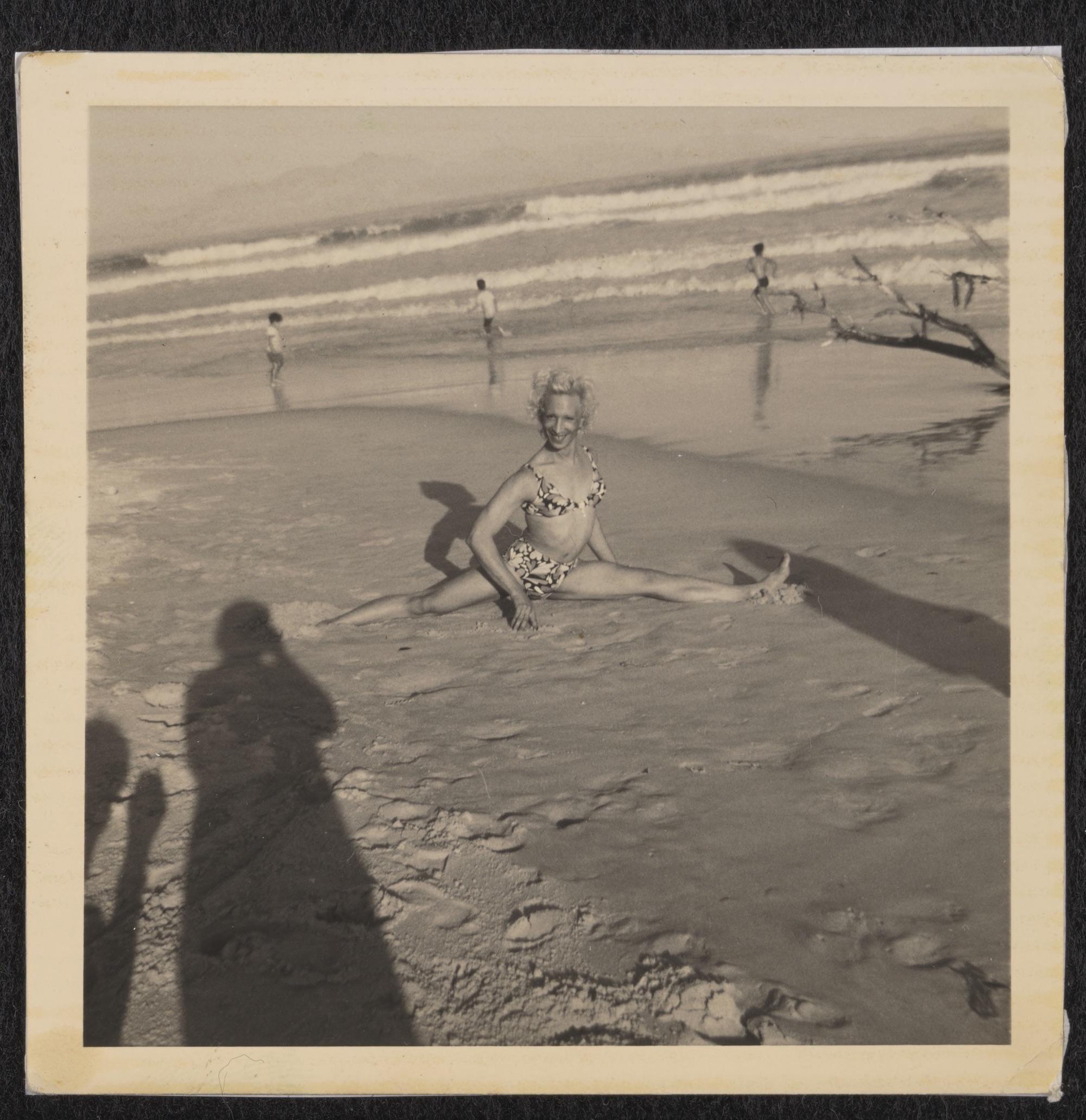 Kewpie Doing a Split at Strandfontein Beach, circa 1975 to 1979