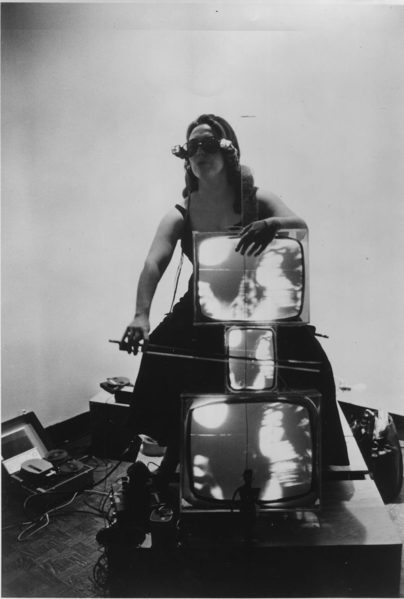 Nam June Paik, Charlotte Moorman with TV Cello and TV Eyeglasses 1971. Lent by the Peter Wenzel Collection, Germany