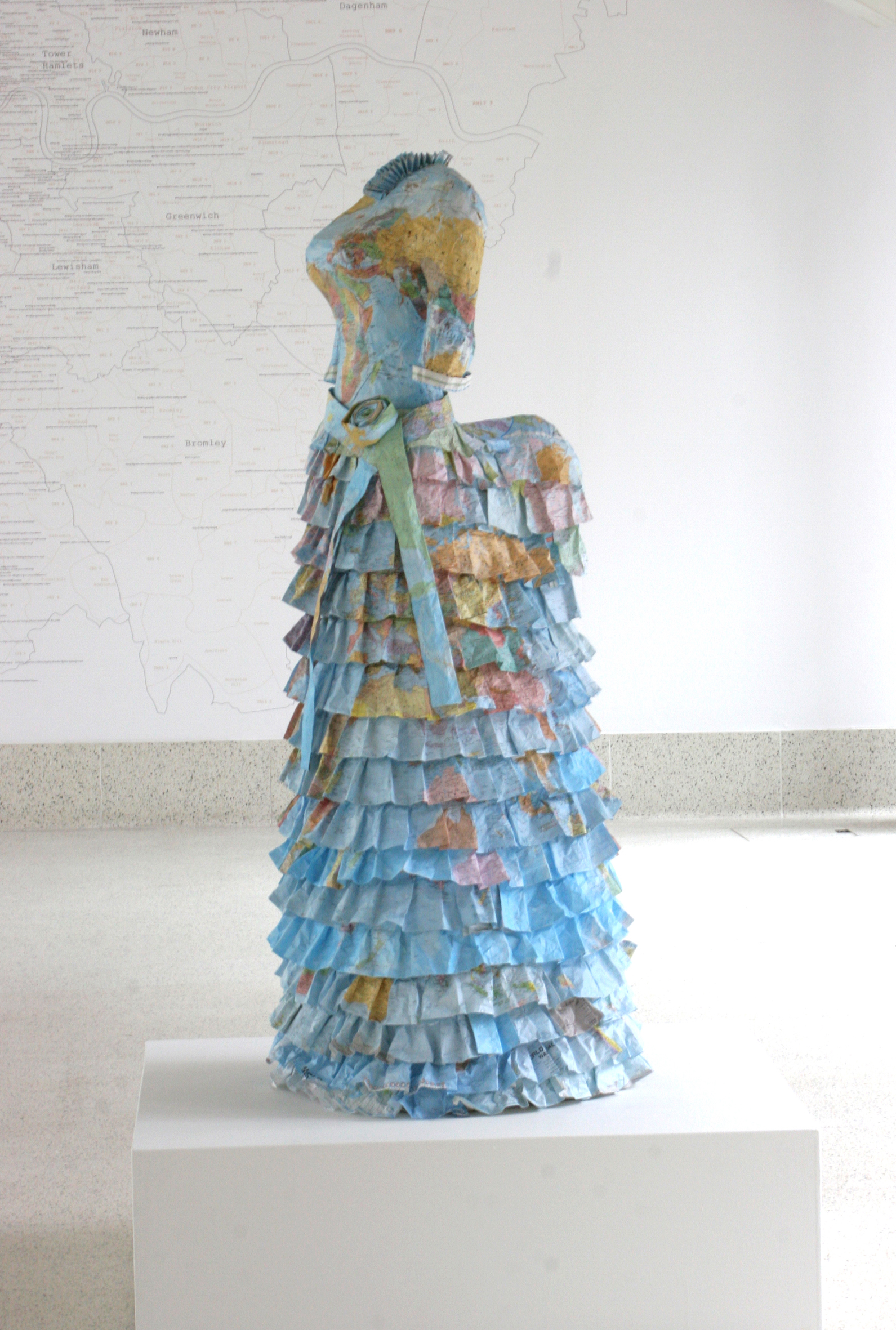 Colonial Dress made from paper maps. Lifesize © Susan Stockwell. Photo by Colin Hampden-White, 2011