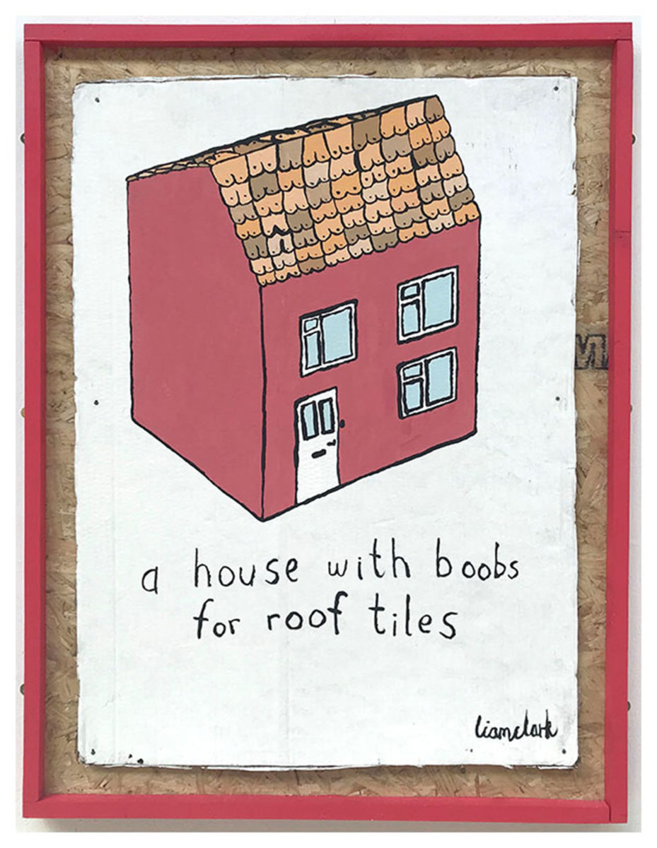 Liam Clark, A House With Boobs For Roof Tiles, painting, 2018