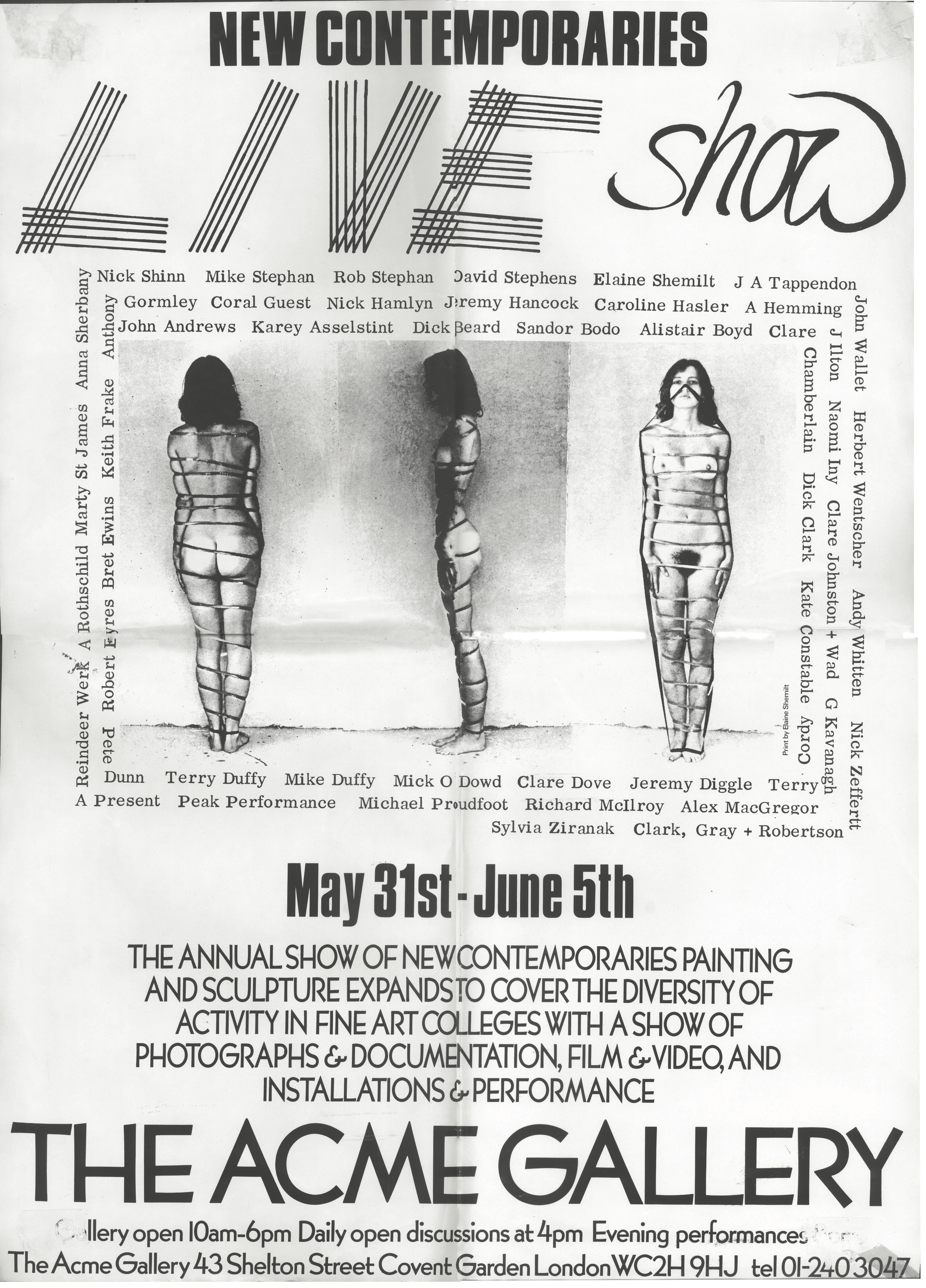 Poster for New Contemporaries live show at Acme Gallery 1978