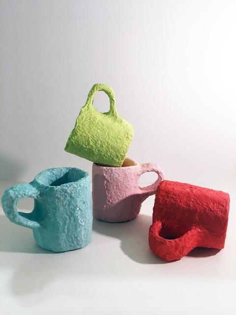 Emmely Elgersma papier-maché mugs