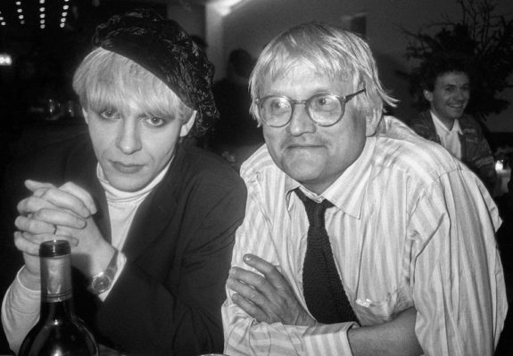 Musician Nick Rhodes with artist David Hockney Malibu, California 1989