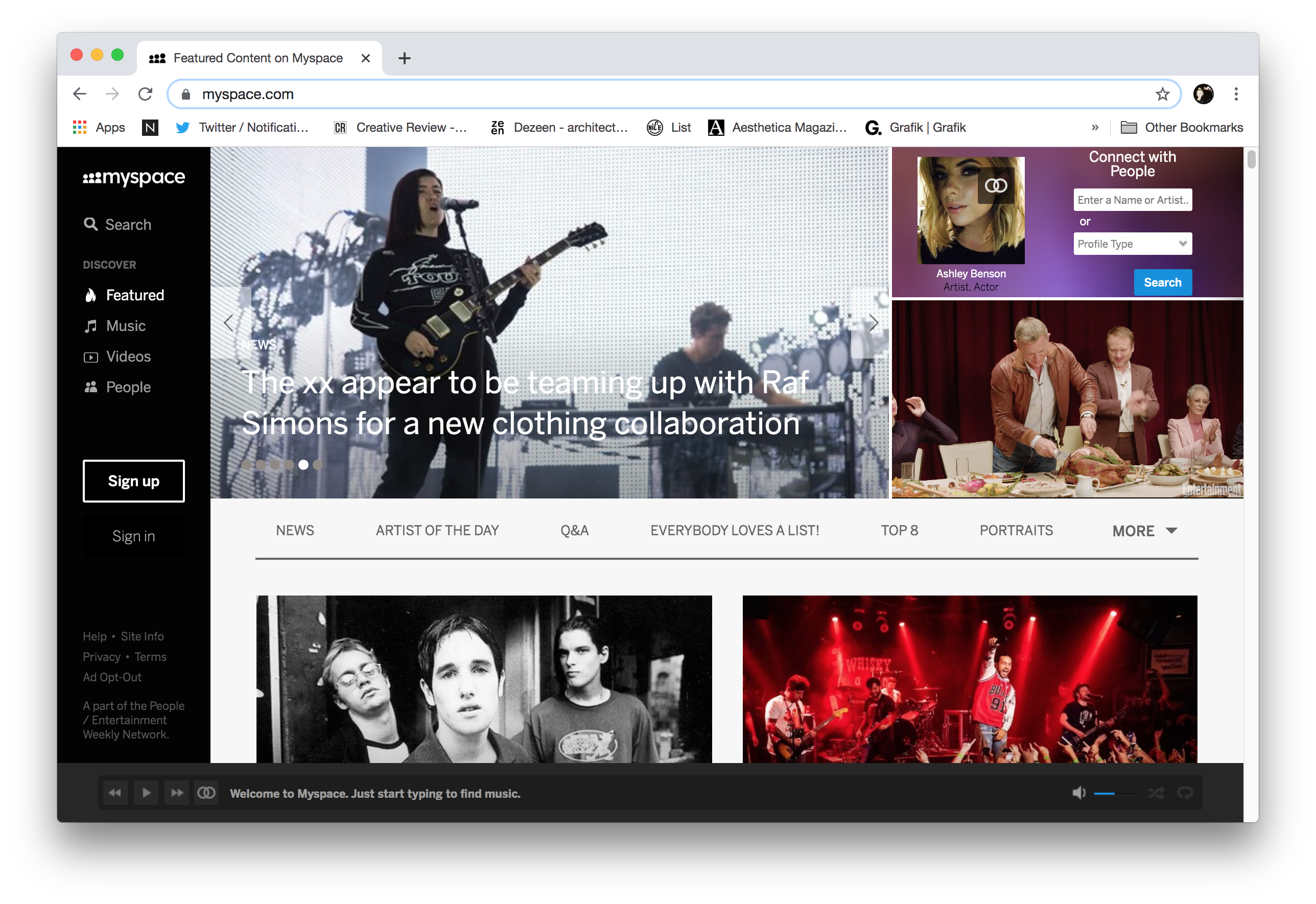 The Myspace homepage, November 2019