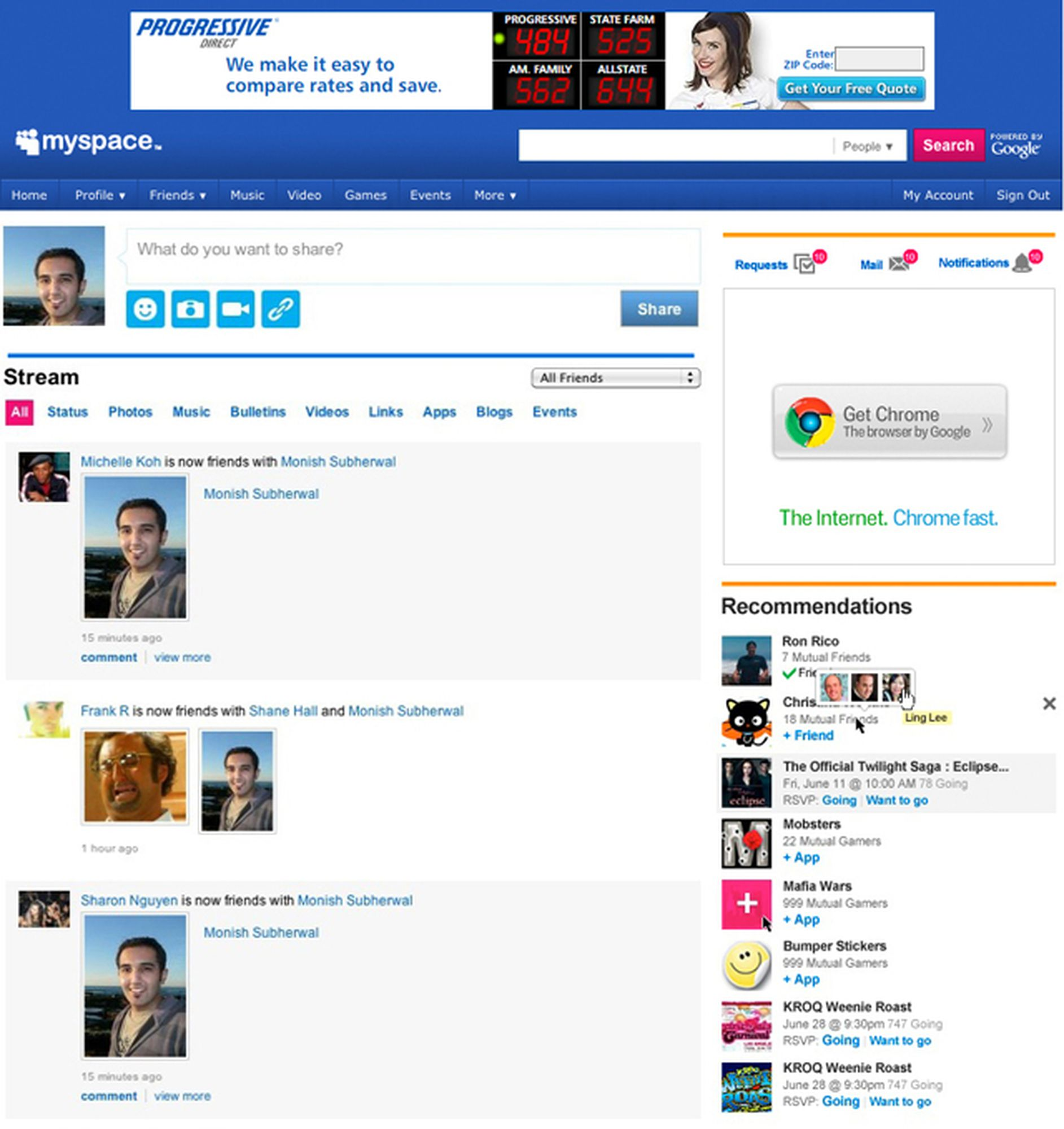 the 2010 Myspace redesign