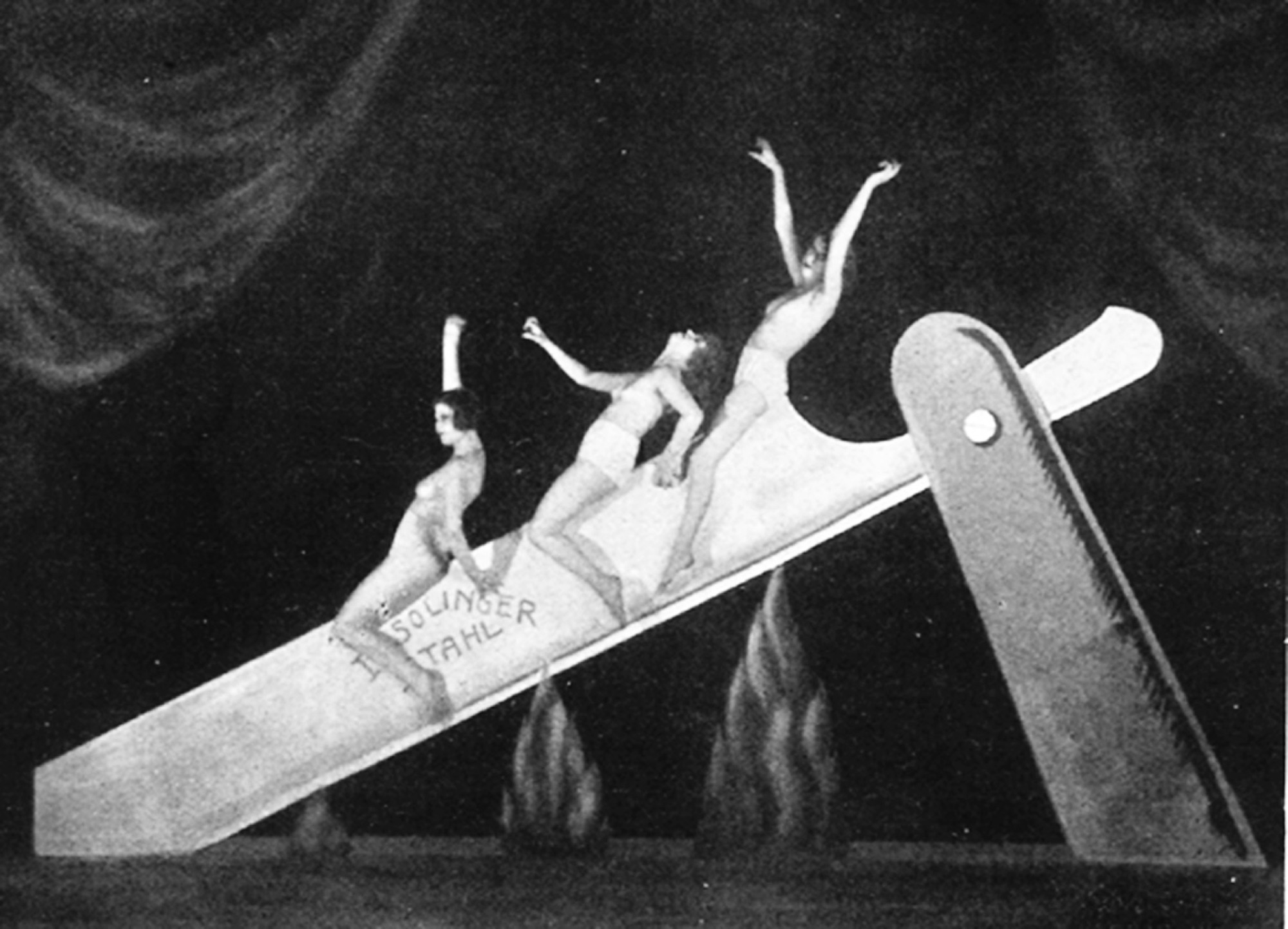 Unknown photographer, 'Slide on the Razor', performance as part of the Haller Revue 'Under and Over', Berlin, 1923. Courtesy Feral House