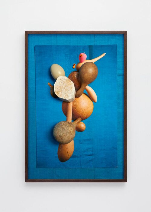 Lorenzo Vitturi,  Yam, Calabashes, Aso-oke, Egg and Pink Sponge, 2017. Courtesy Kahmann Gallery
