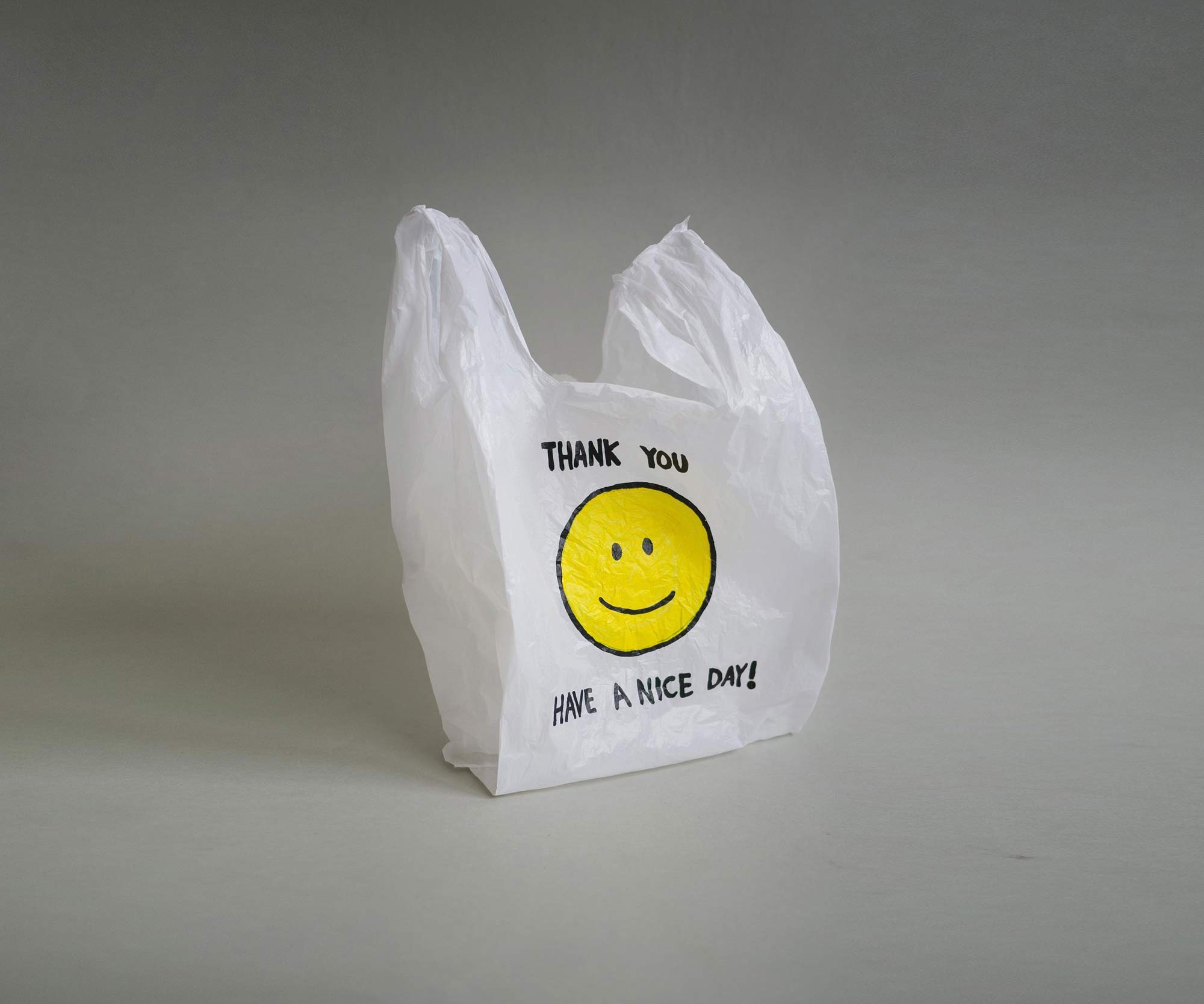 Michikazu Matsune, Hand Painted Smiley Plastic Bag, 2015