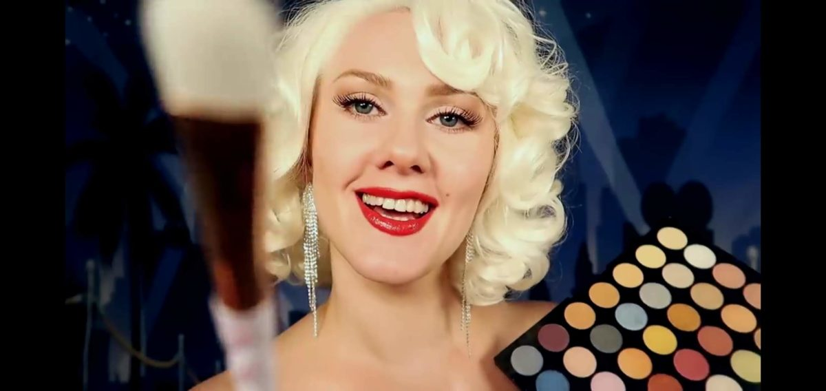 Gentle Whispering, Still from ASMR Marilyn Monroe Does Your Makeups, 2019. Via Youtube