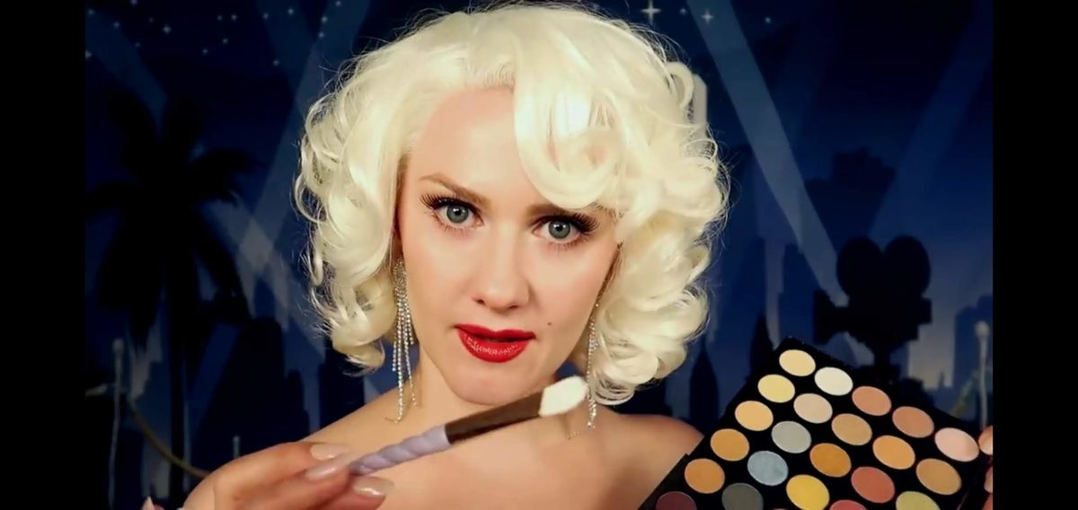 Gentle Whispering, Still from ASMR Marilyn Monroe Does Your Makeup, 2019. Via Youtube