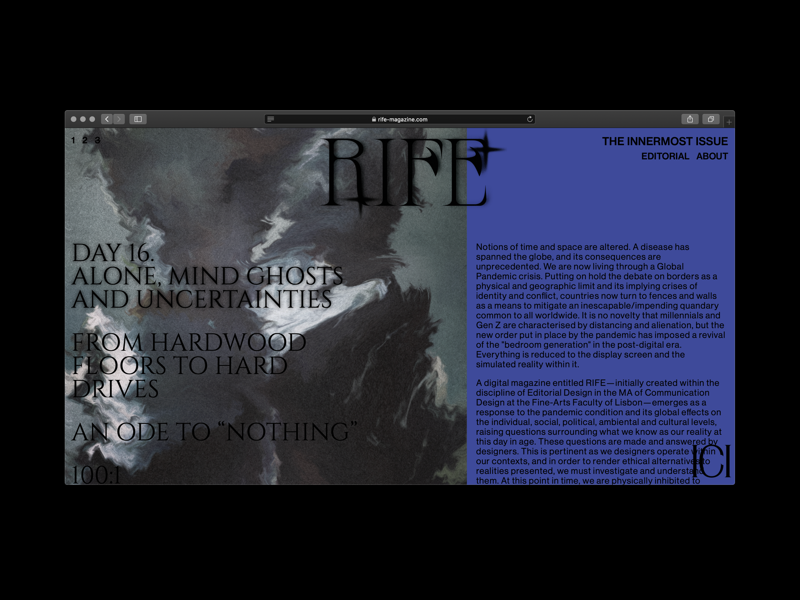 Rife magazine issue 1, screen shot, from Hiatus Collective