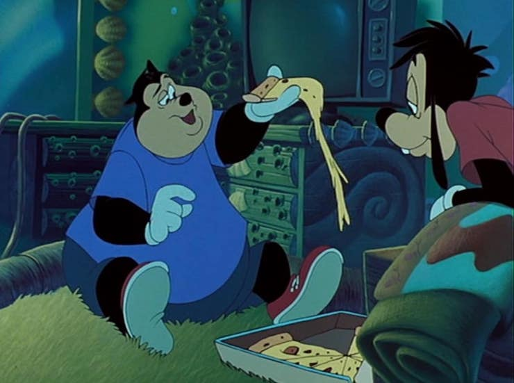 Goofy Movie and cheesy pizza