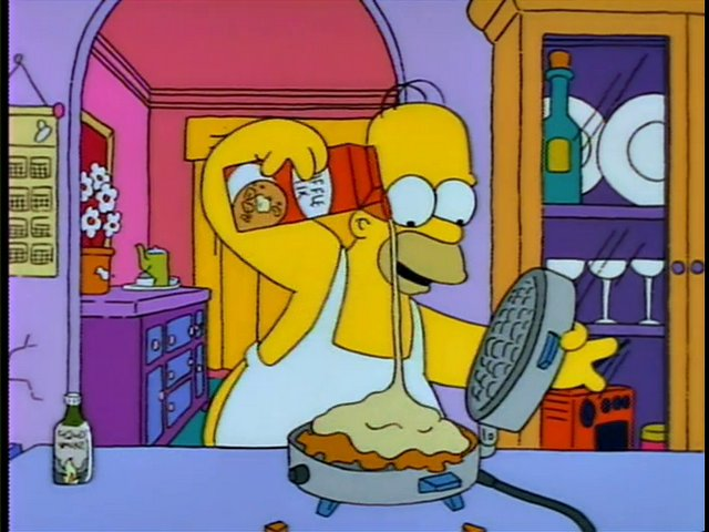 Screenshot from The Simpsons, Moon Waffle