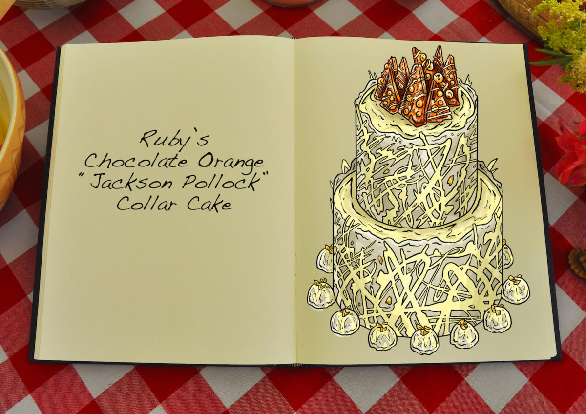 Ruby's Chocolate Orange Jackson Pollock Collar Cake Series 9